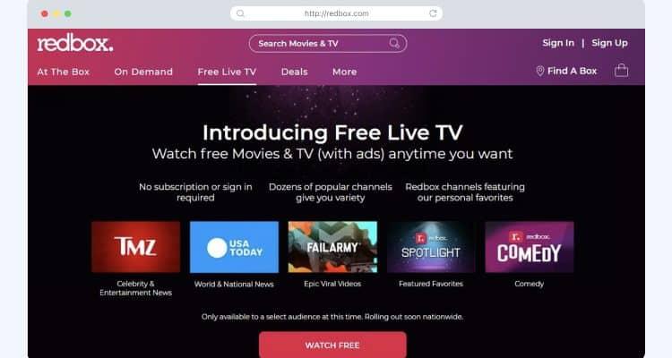 Redbox TV homescreen