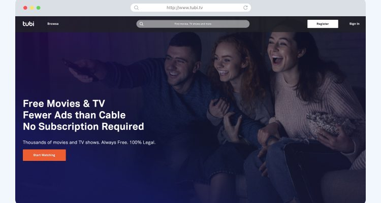 Tubi TV homescreen