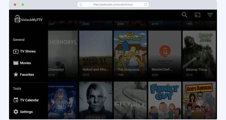 UnlockMyTV homescreen